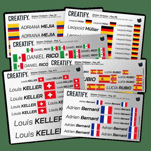 Calcomanias personalizadas con nombre y bandera